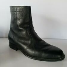 Vtg Goodyear Made In USA Black Pebble Leather Zip Up Ankle Beatle Boots 9.5 D