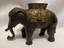 Antique AC Williams Cast Iron Elephant with Howdah Coin Still Bank Original Sm