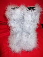 ~So Chic Leather Purple Ostrich Feather Snow Dress Boots Sz 40 9 1/2 10~