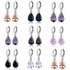 Fashion Women Cubic Zirconia Silver Plated Drop Hoop Dangler Earrings Jewelry