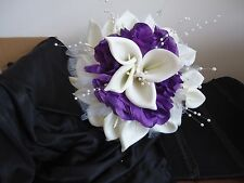 Wedding Silk Bridal Bridesmaid Bouquet White Calla lily Purple Roses Rhinestone