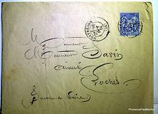 Sage  sur lettre oblitération  MONTRESOR LOCHES 1876   -  201ca111