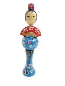 Signed Japanese Kokeshi Doll Blue Kimono by Torao Hosaka original