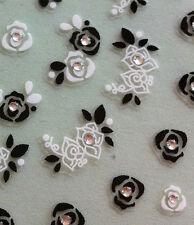 Nail Art 3D Sticker Crystal Decal Black & White Rose Flower 44pcs per sheet