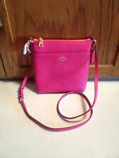 Coach 52348 North South Swingpack Crossbody Embossed Textured Leather Pink
