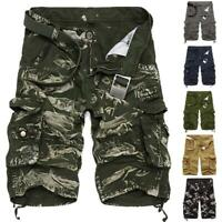 Mens camo Capri Shorts Cargo Pants Multi Pocket Army Military Style Trousers Hot