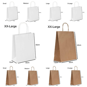 1-500 Brown & White Paper Bags with Twisted Handles. Party, Gift & Carrier Bag