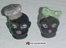 VINTAGE BLACK AMERICANA MAMMY GREEN BOW & CHEF GRAY HAT SALT & PEPPER SHAKERS