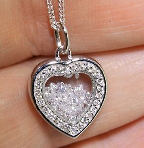 """FLOATING DIAMOND HEART CLUSTER PENDANT 925 STERLING SILVER  & 18"""" Chain Necklace"""