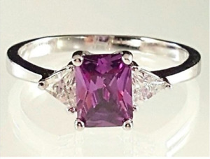 Ladies Silver Plated Cocktail Ring Purple Cubic Zirconia Sizes 5 9 10