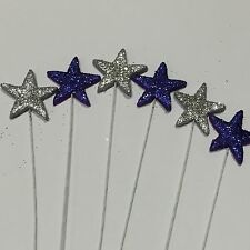 Purple & Silver Stars With Glitter On Wire Edible Sugar Cake Toppers X 6