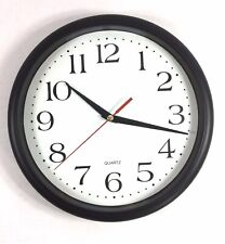 """Classic Wall Clock 10"""" Round Silent Quartz Non Ticking Battery Operated Black"""