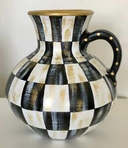 MY OWN Hand Painted Courtly Ceramic WATER JUG Vase - Black & White Check