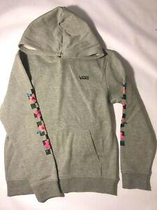 Vans New Barbed Floral Hooded Sweatshirt Grey Floral Youth Girls Size Medium