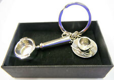 Barista Coffee Machine Chrome Metal Filter Holder Keyring and Espresso Cup Gift