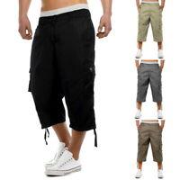 Summer Casual Men's Solid Elastic Shorts Cargo Combat Multi Pockets 3/4 Pants SF