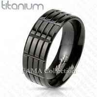 Top Quality FAMA Solid TITANIUM Black IP Triple Grooved Band Ring Size 9-13