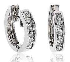 Diamond Huggie Hoop Earrings for Pierced Ears 0.35ct F VS in 18ct White Gold