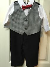 Boys Infant Suit 6/9 Months Black White Check Jumpsuit Holiday Edition Christmas