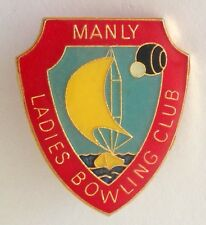 Manly Ladies Bowling Club Badge Pin Rare Sailing Design Vintage (M16)