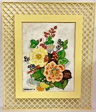 Vintage 1979 Yellow Framed Flowers Floral Painting Signed Artwork Fred Earhart