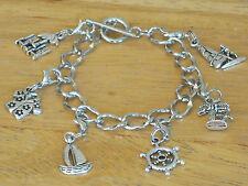 ocean/beach/Nautical/sea/ Vacation Silver-Tone Charm Bracelet Hawaiian/Sail Boat