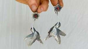 Oaxaca Silver Earrings. Hummingbird. Mexico. Frida Kahlo