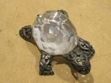 vecchio soprammobile forma TARTARUGA vetro tipo Swarosky e argento 800 punzonato