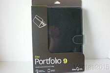 """iDeaUSA Portfolio 9 Black Leather Cover Case Universal Stand for 9.7"""" Tablets"""