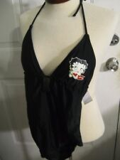 NWT Universal Studios Betty Boop 1 pc Women's Swimsuit Black sz Small Tie @ Neck