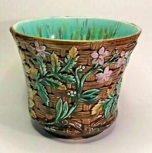 Antique French Majolica Cache Pot Flower Vines on Basket c.1890s