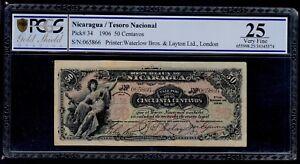 NICARAGUA  50  CENTAVOS  1906   PICK #  34 PCGS 25 VERY FINE.