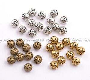 10Pcs Tibetan Silver Round Metal Carved Flower Hollow Spacer Beads 11MM