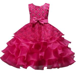 Wedding Flower Girl's Bridesmaid Ruffles Lace Cute Bow Waist Evening Dress