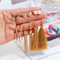 6Pairs Boho Tassel Crystal Pearl Earrings Set Women Ear Stud Dangle Jewelry G fi