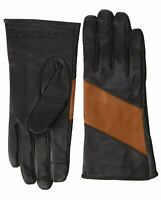 Calvin Klein Womens Spliced Color Block Leather Touch Gloves Medium Black/Brown