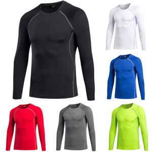 Men's Elastic Long Sleeve T-Shirt Running Training Athletic Tight Sportswear