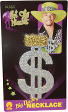 Morris Costumes Large Glitter Gold Metal Dollar Sign Chain Necklace. BB278