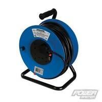 SILVERLINE 25M/50M MAINS EXTENSION CABLE REEL 240V FREESTANDING 13A 2/4 SOCKET