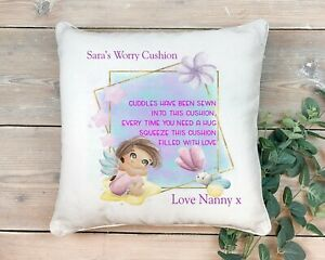 Personalised Child Worry Pillow Cushion Comfort Love Hugs Autism Anxiety Calmer