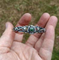 Vintage southwestern sterling silver 925 turquoise thunderbird cuff bracelet