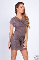 Ladies Mini Dress With Pockets & Belt Cowl Neck Party Tunic Sizes 8 - 18 8108