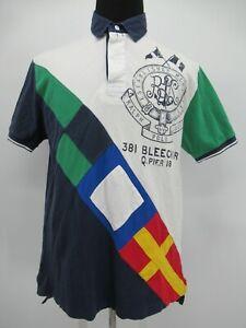 P8437 VTG Polo Ralph Lauren Men's Multicolor Flag Polo Shirt Size L