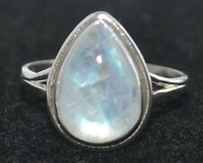Sterling SILVER Rainbow Moonstone Ring, Natural Gems 925 Jewellery, Sizes L to Z