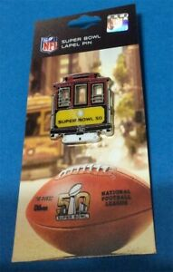 SUPER BOWL 50 NFL 2016 SAN FRANCISCO TROLLEY PIN W/ COLLECTOR PIN CARD