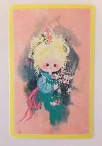 Vintage Little Girl With Flowers Playing Swap Card, Pink, Cute, Blond, Child