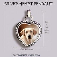 LABRADOR RETRIEVER DOG Yellow Light  - Ornate HEART PENDANT Tibetan Silver