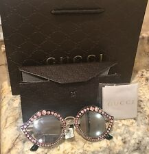 New Authentic Gucci Cat Eye Lips Pink Crystal Sunglasses Retail $830