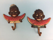 Black Americana Iron/ Vintage Boy and Girl eating watermelon with Hook
