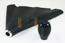5 SPEED LEATHER BLACK SHIFT KNOB + SHIFT BOOT W/ BLUE STITCHING FITS FOR HYUNDAI